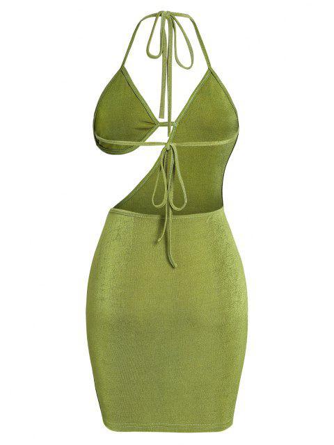 ZAFUL Bra Cutout Jersey Backless Halter Slinky Dress - أخضر S Mobile