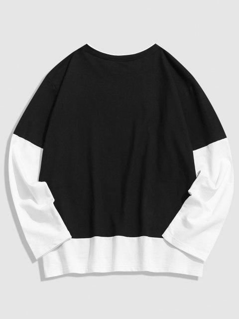 women's ZAFUL DADDY Print Color Block T-shirt - BLACK S Mobile