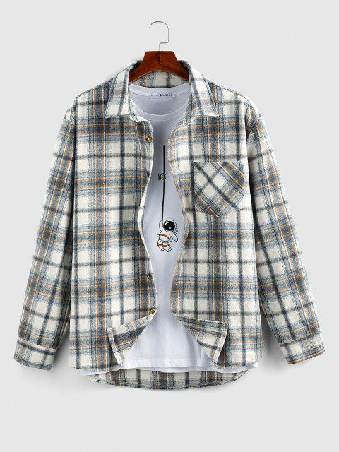 buy ZAFUL Plaid Print Wool Blend Pocket Shirt - LIGHT BLUE L Mobile
