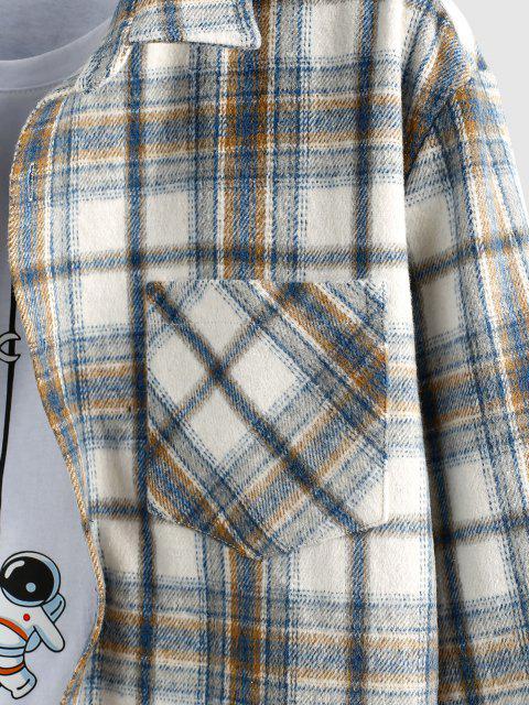 women ZAFUL Plaid Print Wool Blend Pocket Shirt - LIGHT BLUE S Mobile