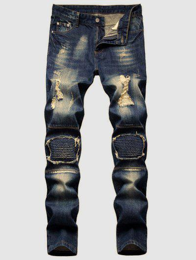 Dirty Wash Ruched Patch Ripped Jeans - Deep Blue 32