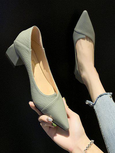 Pointed TOE Chunky Heel Shoes - Green Eu 37
