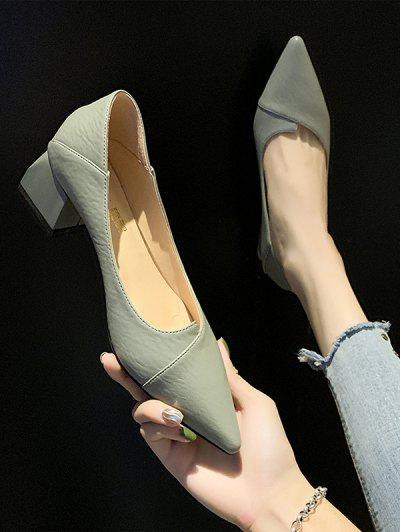 Pointed Toe Chunky Heel Shoes - Green Eu 40