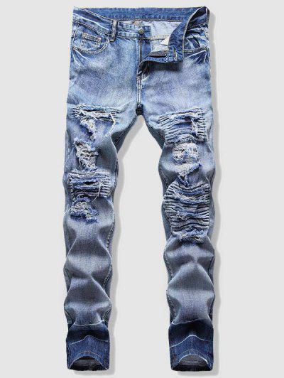 Light Wash Ripped Fisherman Jeans - Light Blue 32