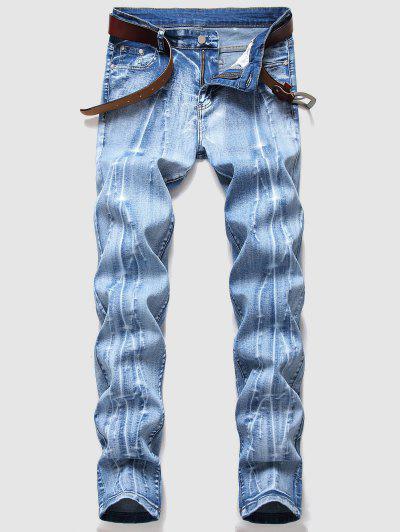 Jeans Con Motivo A Ramo - Azzurro 40