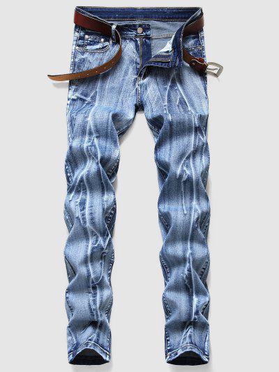 Branch Pattern Light Wash Jeans - Blue 38
