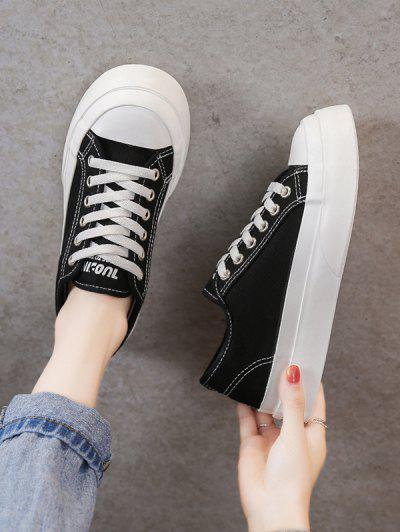Lace-Up Thick Sole Topstitching Sneakers - Black Eu 38