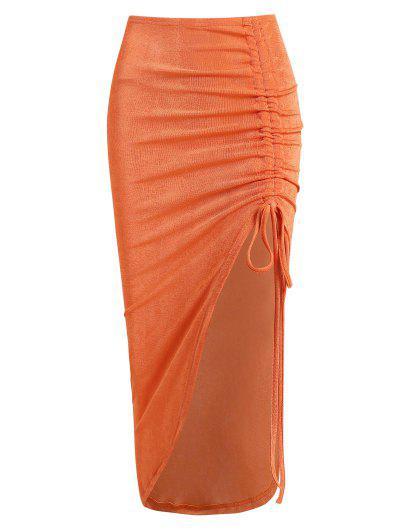 Asymmetrical Cinched Front Jersey Slinky Skirt - Orange Xs