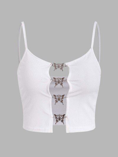 Metal Butterfly Hardware Pully Cutout Ribbed Cami Top - White M