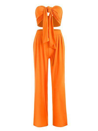 Tie Front Bandeau Top And Wide Leg Pants Set - Orange S