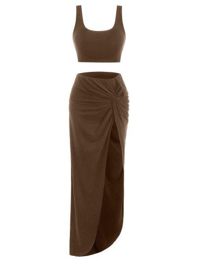2pcs Marled Tank Top and Twist High Slit Skirt with Briefs