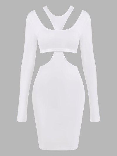 Long Sleeve Crop Top And Slinky Cutout Dress - White S