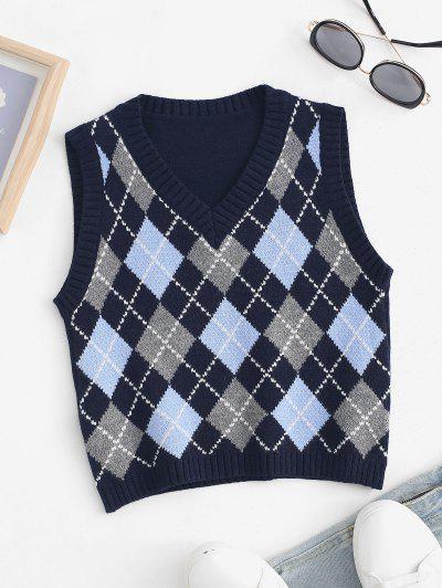 Cropped Argyle Sweater Vest - Deep Blue L
