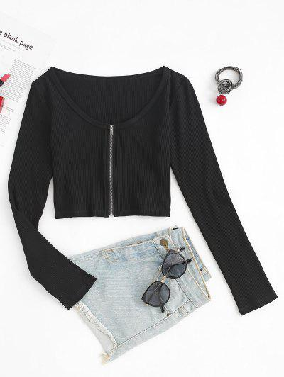 Cropped Ribbed Zip Front Long Sleeve Top - Black S