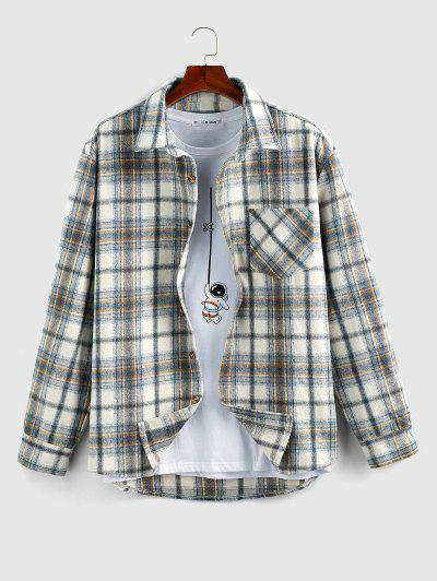 ZAFUL Plaid Print Wool Blend Pocket Shirt - Light Blue L