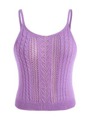 zaful ZAFUL Plus Size Pointelle Cable Knit Cami Top