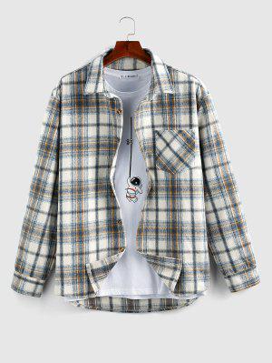 zaful ZAFUL Plaid Print Wool Blend Pocket Shirt