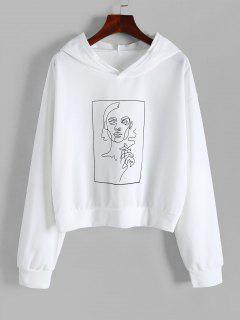 Kastige Figur Druck Hoodie - Weiß L