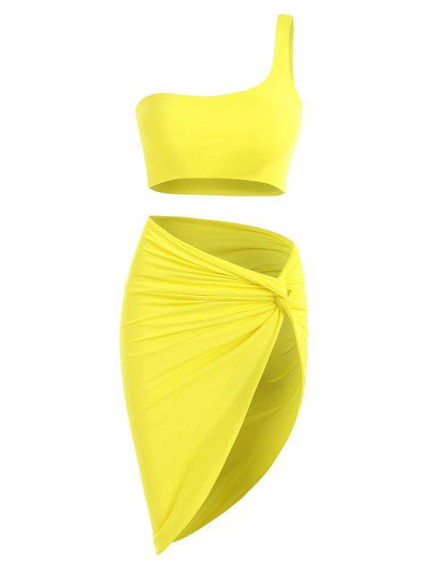 affordable Double-layered One Shoulder Top and Twist Asymmetrical Skirt Set - YELLOW M Mobile