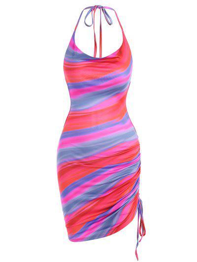 Tie Dye Open Back Cinched Side Slinky Dress - Red M
