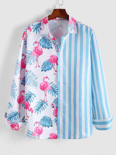 ZAFUL Stripes Flamingo Print Long Sleeve Shirt - Light Blue Xl