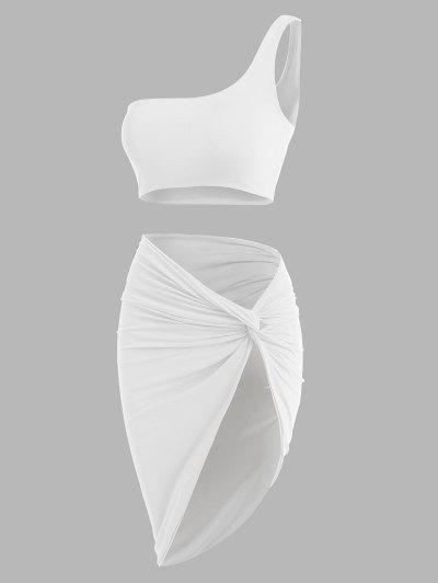 Double-layered One Shoulder Top And Twist Asymmetrical Skirt Set - White M