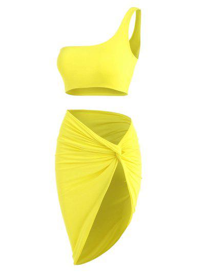 Double-layered One Shoulder Top And Twist Asymmetrical Skirt Set - Yellow M