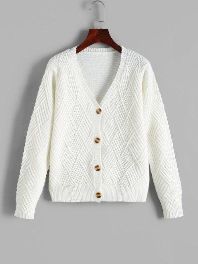 Mixed Textured Single Breasted Cardigan - White S