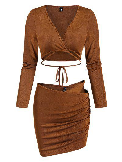 Midriff Flossing Cutout Ruched Two Piece Skirt Set - Deep Coffee M