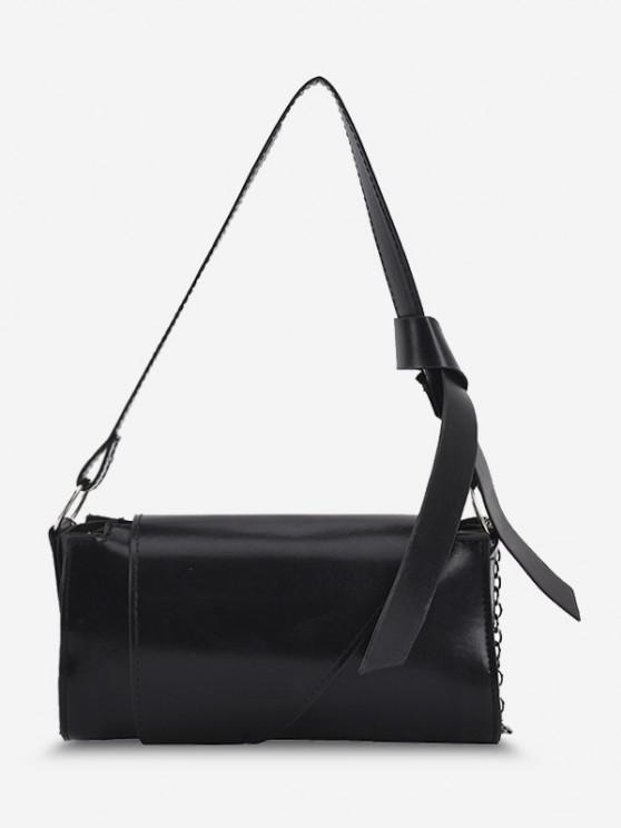 PU Double Strap Solid Crossbody Bag - أسود