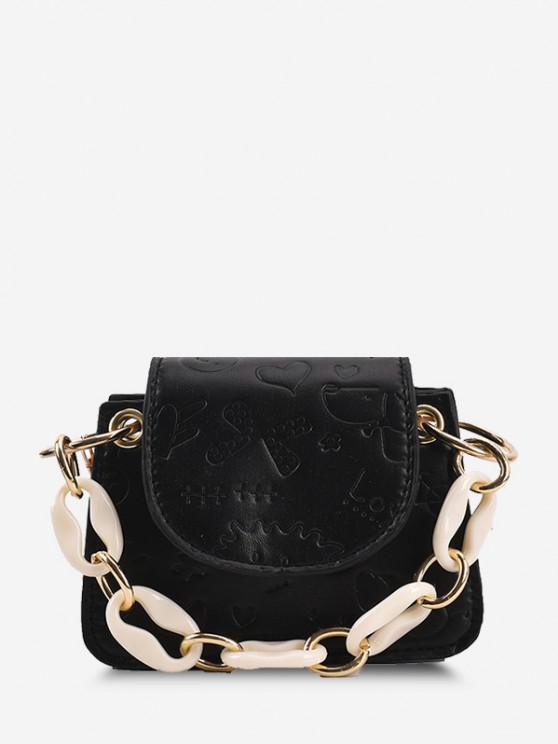 Embossed Chain Mini Crossbody Bag - أسود