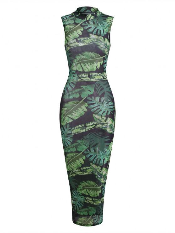 women's Palm Leaf Semi-sheer Mesh Slinky Maxi Jungle Dress - GREEN S