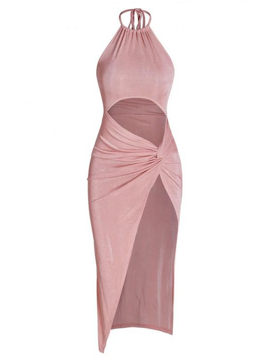 ladies Halter Jersey Cutout Twist Slit Slinky Maxi Dress - LIGHT PINK S