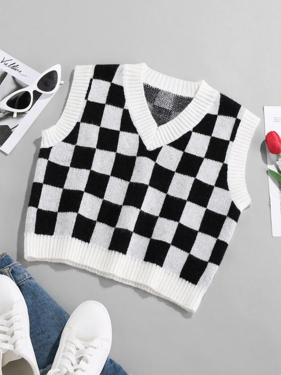 shops ZAFUL Checkered Ribbed Trim Crop Vest Sweater - MULTI S