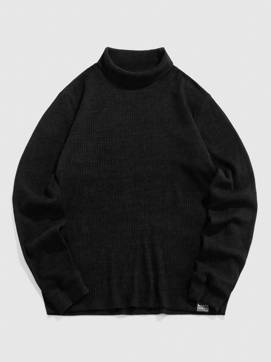 ZAFUL Plain Long Sleeve Turtleneck T-shirt - أسود XL