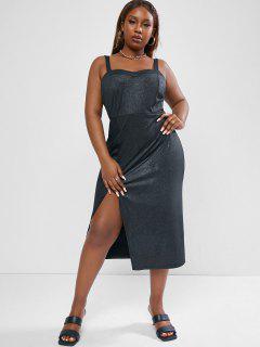 ZAFUL Front Slit Glitter Metallic Plus Size Midi Dress - Black 5xl