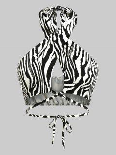 ZAFUL Zebra Print Criss Cross Halter Midriff Flossing Top - Black S