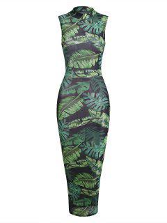 Palm Leaf Semi-sheer Mesh Slinky Maxi Jungle Dress - Green M