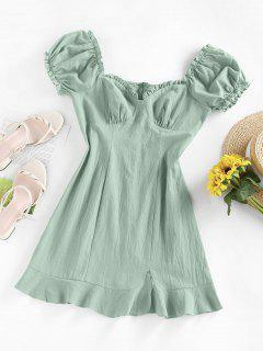 ZAFUL Ruffle Puff Sleeve Sweetheart Slit Dress - Light Green M