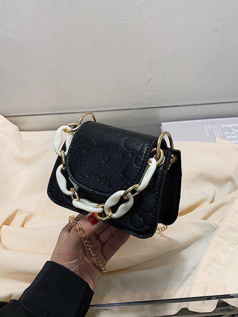 Geprägte Kette Mini Umhängetasche - Schwarz  Mobile