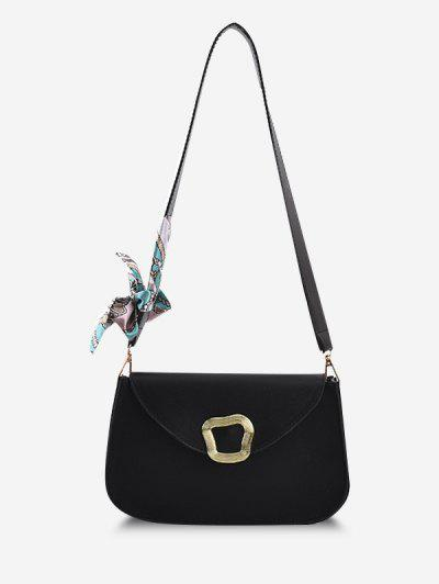 Irregular Metal Scarf Shoulder Bag - Black