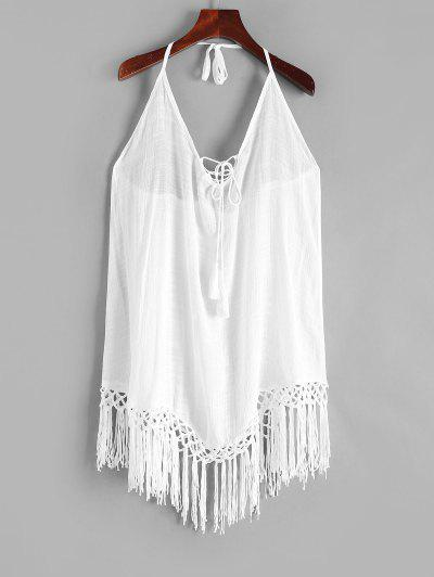 Lace-up Fringed Crochet Cover Up Dress - White