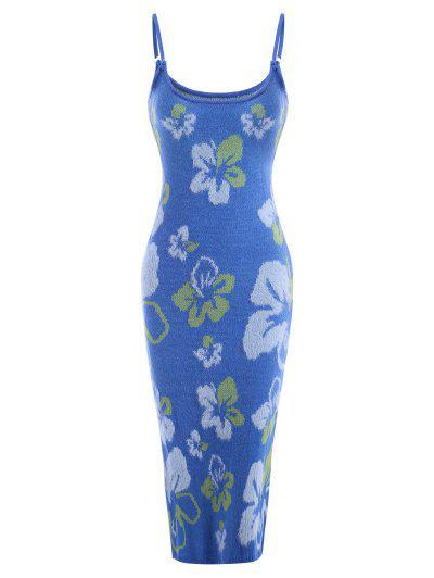 Robe Pull Formelle Légère Volantée à Motif Floral Pour Ras Du Cou - Bleu Clair S