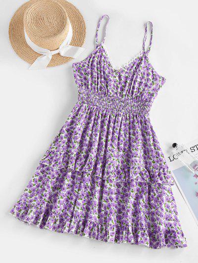 ZAFUL Flower Print Picot Trim Ruffle Smocked Dress - Light Purple L