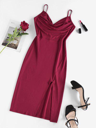 Vestito Aderente Longuette A Fessura Di ZAFUL - Profondo Rosso S