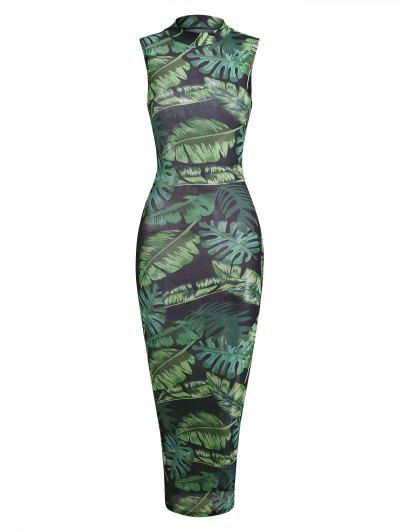 Palm Leaf Semi-sheer Mesh Slinky Maxi Jungle Dress - Green S