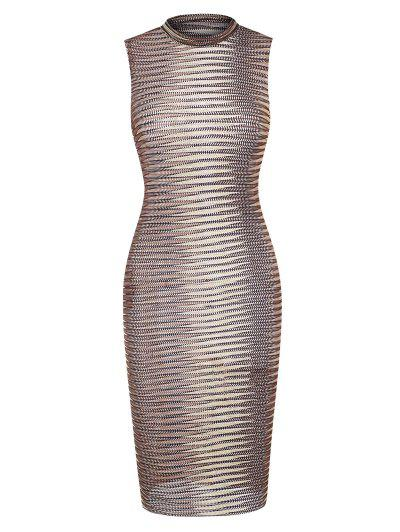 Knit Ombre Openwork Tank Slinky Dress - Coffee M