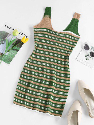 ZAFUL Ribbed Striped Slinky Dress - Deep Green S