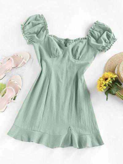 ZAFUL Ruffle Puff Sleeve Sweetheart Slit Dress - Light Green S