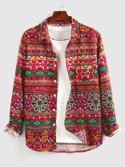 ZAFUL Ethnic Tribal Pattern Long Sleeve Shirt - Red L